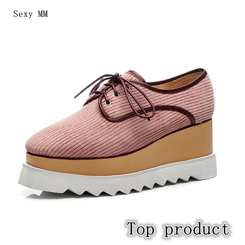 Genuine Leather Wedges Office Shoes Platform Women High Heels Wedge Walking High Heel Sh ...