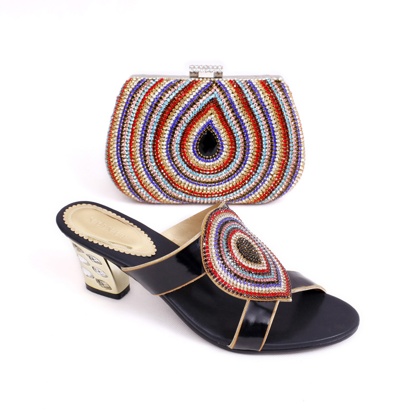 ФОТО Italian style PU leather shoes and bag set,African party shoes and bag set matching with many rhinestones,MD015-228 size 38-43.