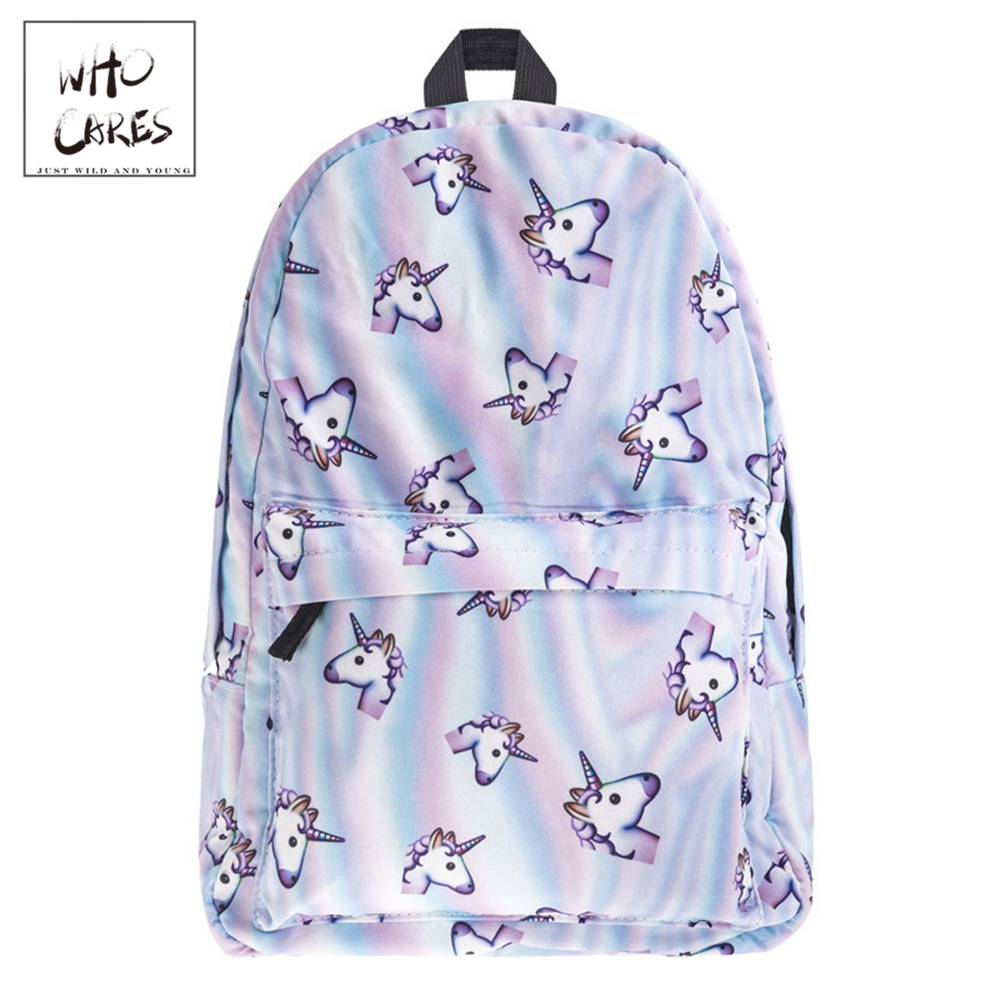 WHO CARES High Quality Canvas Printed Holo Unicorn Backpacks Larger Capacity School Shoulder Bag Travel Bag Laptop Backpack