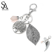SA SILVERAGE Round Life Tree Leaf Pink Crystal Key Chains Wing Star Keychain Star Bag keychain Car Key Accessories Vintage(China)