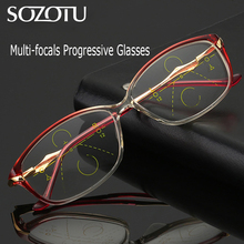 SOZOTU Multi-focal Progressive Reading Glasses Men Women Prescription Presbyopic Diopter Eyeglasses +1.0+1.5+2.0+2.5+3.0 YQ598