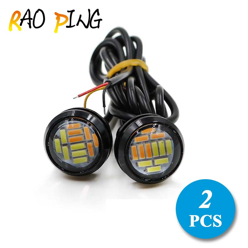 Raoping 2PCS Car Led Motorcycle Eagle Eye Daytime Running Lights DRL 4010 12SMD Fog Lights Parking Lights License Plate Bulbs 15w car led eagle eye headlight fog lights spotlights 6000k ip67 waterproof daytime running light for vehicle motorcycle