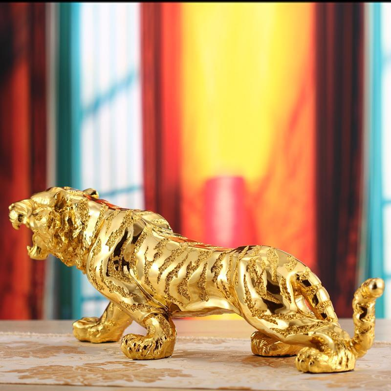 Tiger Sculpture Statue Business Gifts Lucky Crafts Living Room Office Creative Home Decor Ornament Resin Tiger Figure