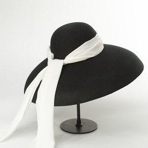 Image 2 - 01810 HH8122 winter warm % wool Catwalk model wind brim white ribbon  leisure lady fedoras cap  women warm outdoor hat