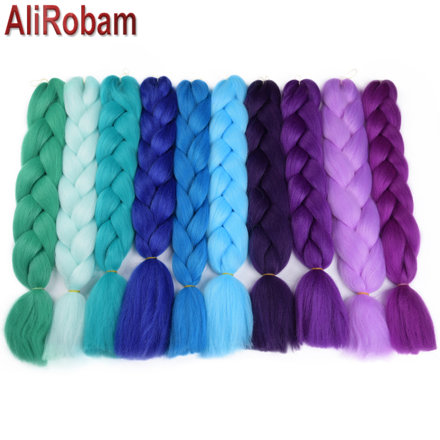 AliRobam Ombre Kanekalon Jumbo Braids Hairstyles Hair For Russian Women Big Box Braids C ...