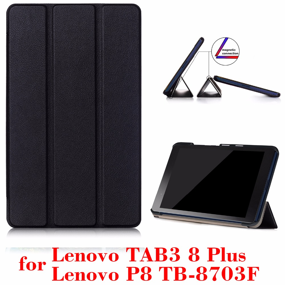 timeless design 6d99c 01ea8 US $6.29 30% OFF cover case for Lenovo Tab3 8 Plus & P8 TB 8703 TB 8703N 8  inch Tablet 2016 release with stand PU Leather Protective Case-in Tablets &  ...