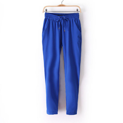 2020 Spring And Summer Women Pants 7 Candy Color Drawstring Elastic Waist Europe Style Casual Harem Thin Chiffon Trouses 6141