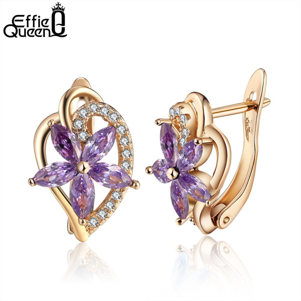 Effie Queen 1pcs New Fashion Stud Jewelry Hot Sale Love Heart Austrian Zircon Earrings For Woman Accessories Best Gift DDE57-P