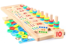 Free Shipping!Baby Toys Montessori Educational Wooden Toys Teaching Logarithm Version Kids  Wooden Building Blocks Toys Gift 1pc