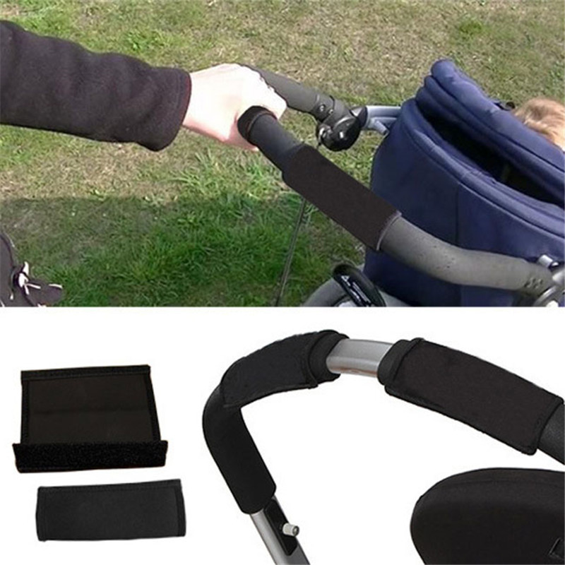 2pcs/pair New Baby Stroller Accessories Carriage Front Handle Pram Black Neoprene Magic Tape Bumper Bar Cover Bebek Arabasi