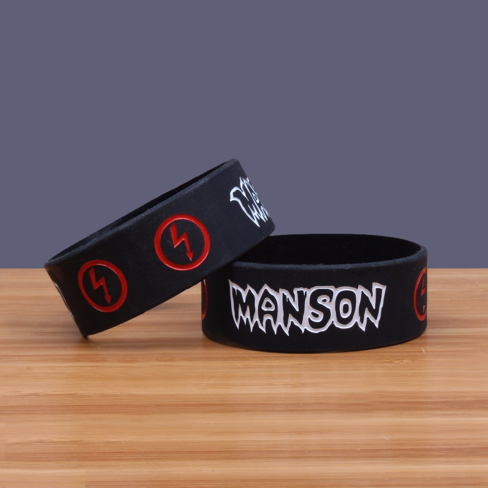 Marilyn Manson Wide Version Band Silicone Bracelets Heavy Metal Band Silicon Wristband Prog Rock Art Rock Jerwerly In Charm Bracelets From Jewelry