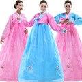 Moda Mulheres Bordar Vestido Tradicional Coreano Hanbok Coreano Vestido de Roupas Antigas Luxo Hanbok Coreano 3 Cores S-XL