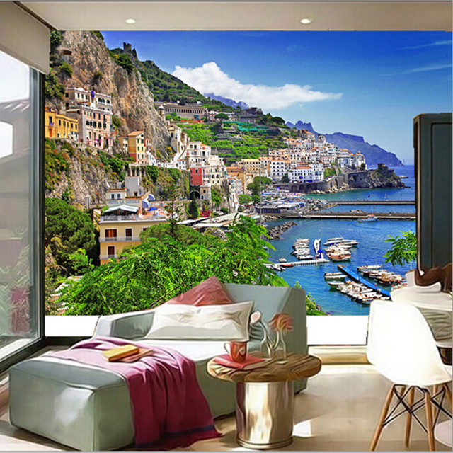 the custom 3d murals, italy houses marinas mountains positano cities