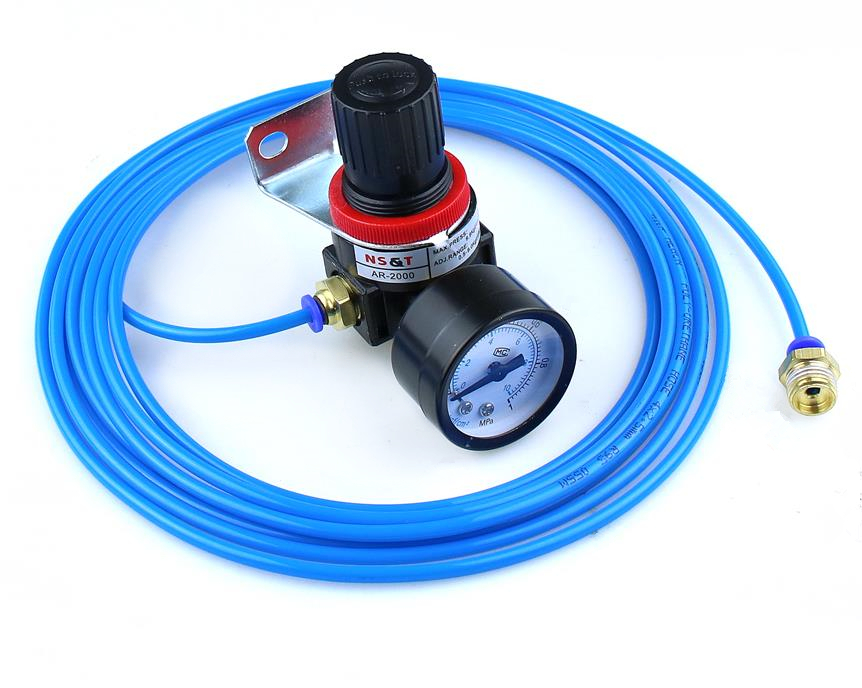 AR2000 G1/4 Pneumatic Micro air pressure regulator air treatment units +PU 6*4 Tube 5 meters  6-02mm FittingsAR2000 G1/4 Pneumatic Micro air pressure regulator air treatment units +PU 6*4 Tube 5 meters  6-02mm Fittings