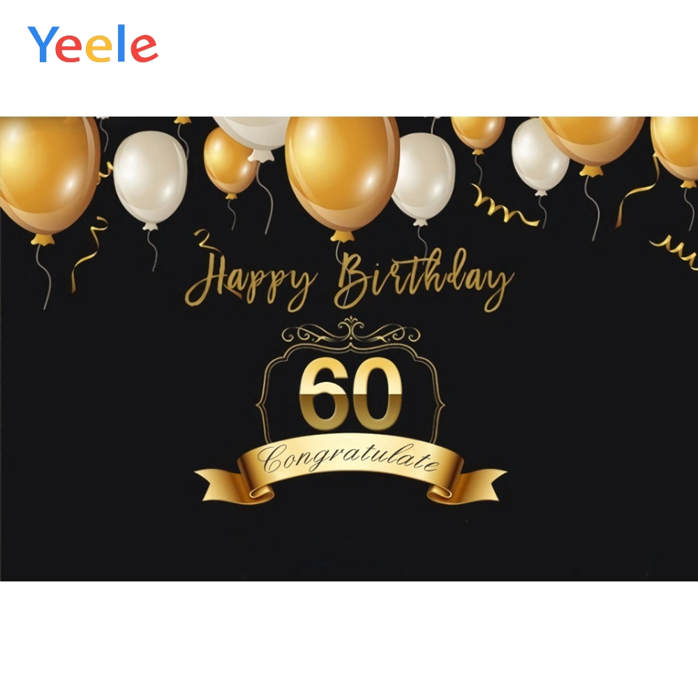 Yeele Black Flying Balloons <font><b>60th</b></font> <font><b>Birthday</b></font> Party Deco Photography Backgrounds Customized Photographic <font><b>Backdrops</b></font> for Photo Studio image