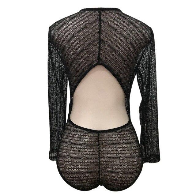 Women  Lace Mesh Crochet Rompers Long Sleeve BodyconSexy Deep V Neck Bodysuit Autumn Jumpsuit Transparent Women Clothing 5