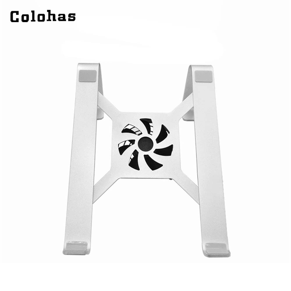 Sliver Aluminum Alloy Laptop Stand With Cooler Fan For 11 To 15 Inch Notebook Simple Office Holder For Macbook Air Pro Retina