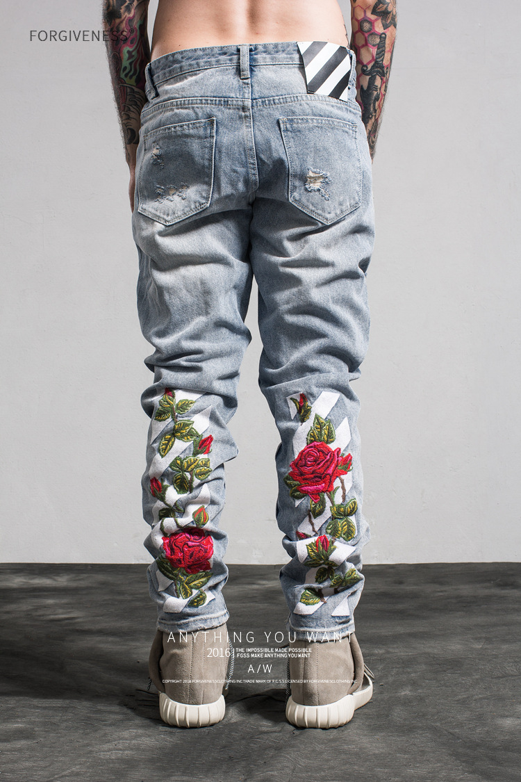 New 2017 Fashion New Tide Brand Men's Jeans Straight Embroidered Holes Jeans Men Denim  Ripped Jeans Trousers