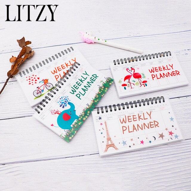 2019 flamencos cuaderno espiral papel diario planificador semanal planificador mensual organizador cuaderno Agenda Kawaii Oficina escuela suministro