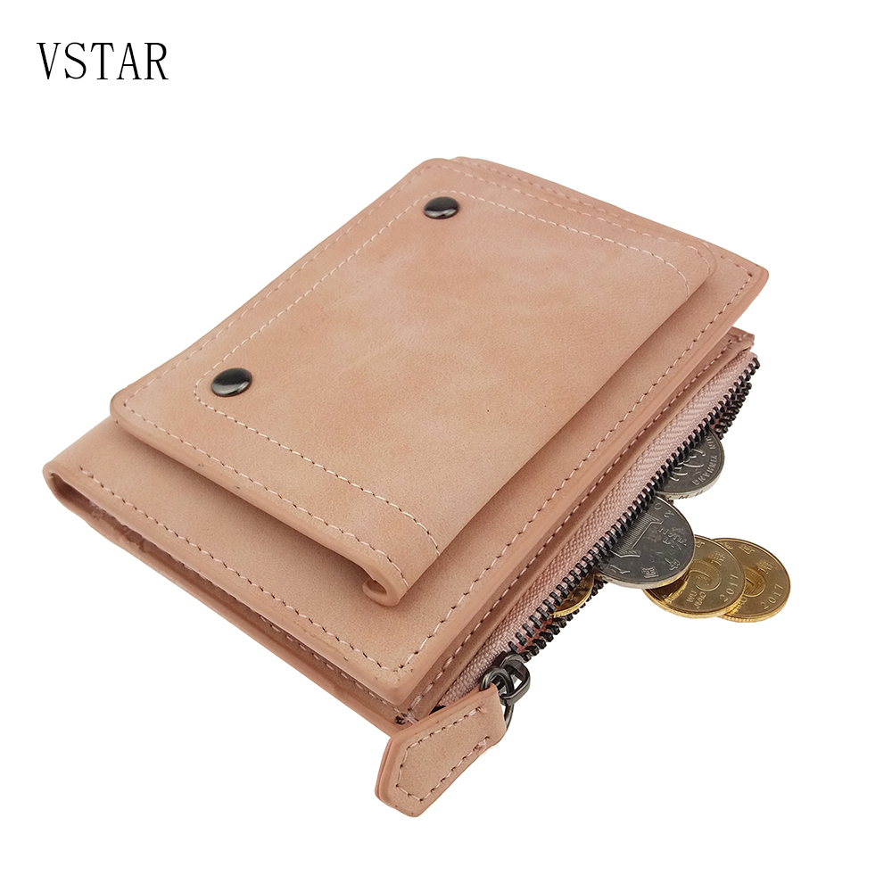 Hasp Zipper Short Standard Wallet Hot Fashion PU Leather Solid Coin Card Purse Wallets For Women Lady Clutch Carteras in Wallets from Luggage Bags
