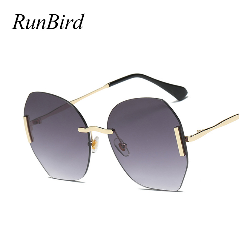 RunBird Stylish Rimless Sunglasses Women Oversize Round Shape Classic Designer Glasse Purple Driving Oculos De Sol 5173 R