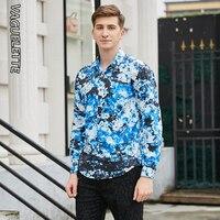 VAGUELETTE Luxury Brand Blue Men Shirt Stylish Mens Shirts Casual Slim Fit Floral Pattern Printed Shirt Men M 3XL