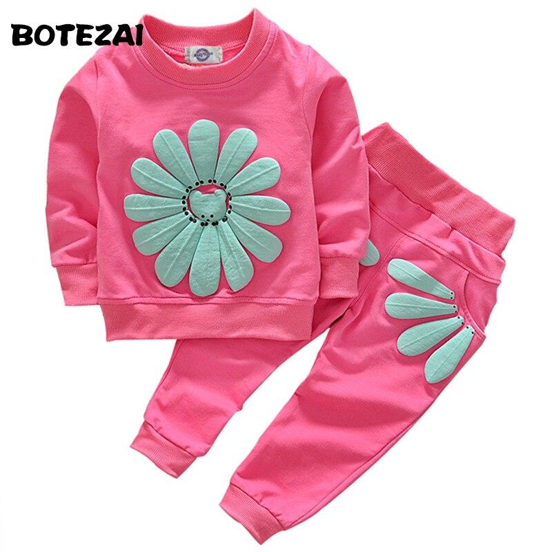 2017 Mädchen Kleidung Sets Cartoon Sonnenblumen 2016 Frühling Herbst Kinder Tragen Baumwolle Lässige Anzüge Kinder Kleidung Sport Anzug