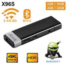 New X96S Android 8.1 TV stick amlogic S905Y2 H.265 2.4G&5GHz Dual Wifi BT4.2 mini TV box 1080P 4K 60pfs TV Dongle PK X96 MINI mi