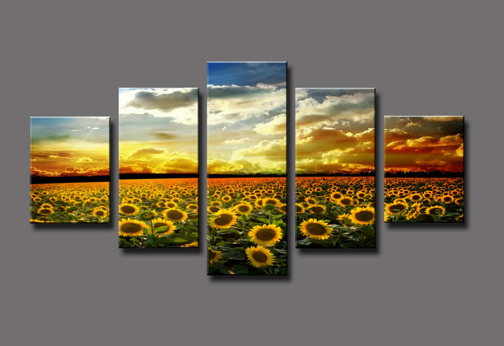 Free shipping Yellow Sunflower Sea Large HD Canvas Print Painting ...