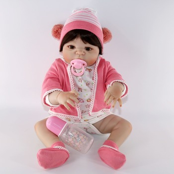 Realtouch 22inch Reborn full Silicone Lifelike Bonecas Baby pink clothes vivid  bathe toddlers doll reborn toys dolls babies toy