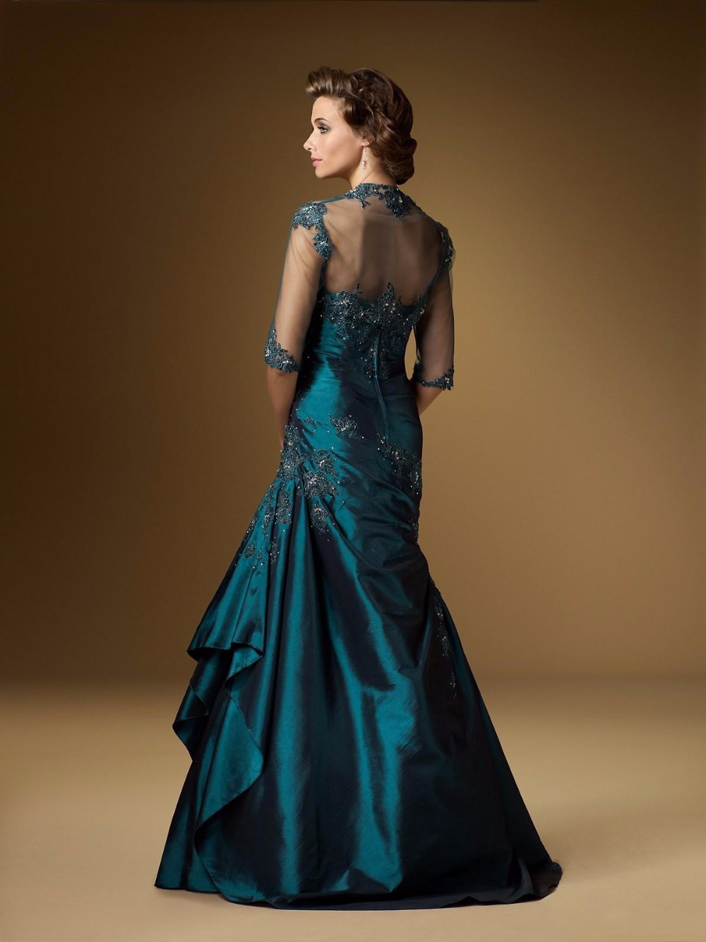Stunning Beautiful 2017 Mother Bride Dress Lace Jacket Taffeta Wedding Party Teal Ruched Formal Gowns In Of The Dresses From Weddings