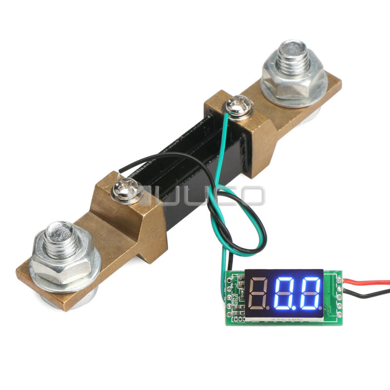 DC 12V 24V Ammeter DC 0~300A Digital Tester Blue LED Display Ampere Meter Current Monitor Panel Meter + Resistive Shunt  цены