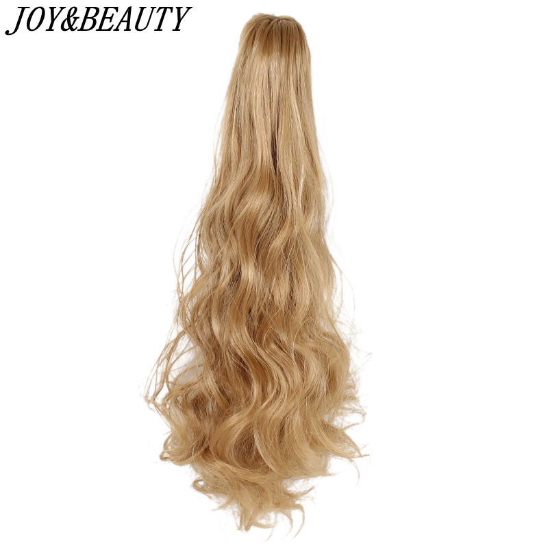 JOY&BEAUTY 22 Inch Synthetic Thick Curly Long Ponytail Hair Extensions Claw On Hairpieces Hairstyles Medium Brown Christmas