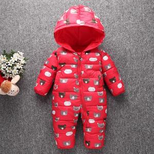 Image 4 - Toddler Baby Down Cotton Cartoon Rompers Newborn Baby clothes snow suit  Winter Thick Warm Children Clothing