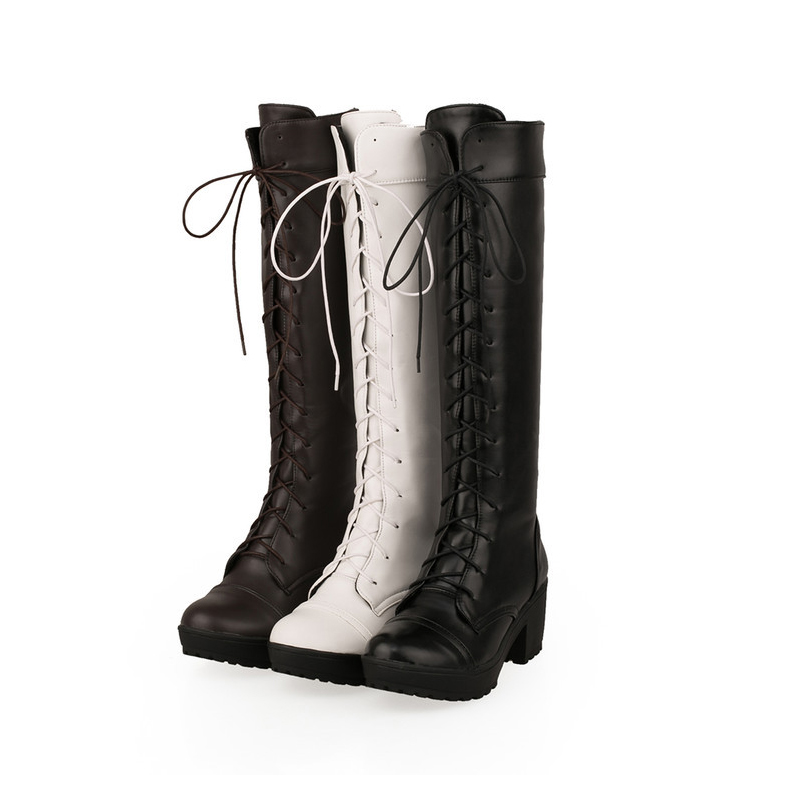 Autumn& Winter Knee-High Lace-Up Riding Boots Fashion Leisure 3 Colors Keep Warm Female Boots scoyco motorcycle riding knee protector extreme sports knee pads bycle cycling bike racing tactal skate protective ear