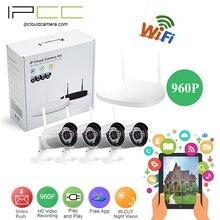 Ipcc 4ch 1.3mp wifi kits nvr sistema de cámaras de seguridad a prueba de agua al aire libre bala wifi sistema de vigilancia doméstica wirenesscctv