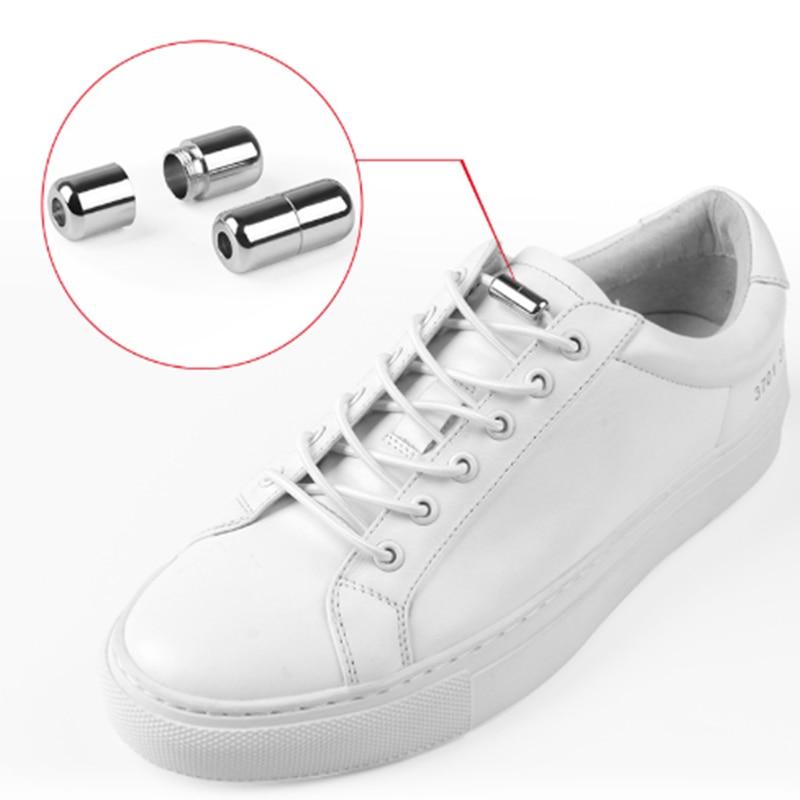 1 Paar Kreative Faul Keine Krawatte Elastische Schnürsenkel Schnalle Kostenloser Locking Runde Schnürsenkel Kinder Erwachsene Schnürsenkel