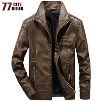 77city killer Leather Jacket Men Winter Leanther Jacket Solid Thick Coat Male Casual Stand Collar Clothing male Jacket Men