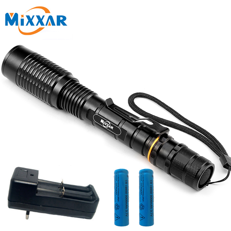 8000LM CREE XM-L T6 Zoomable LED lampe de Poche 5-Mode led Lampe Torche adapté 2x5000 mAh batteries Télescopique Lanterna Lampe