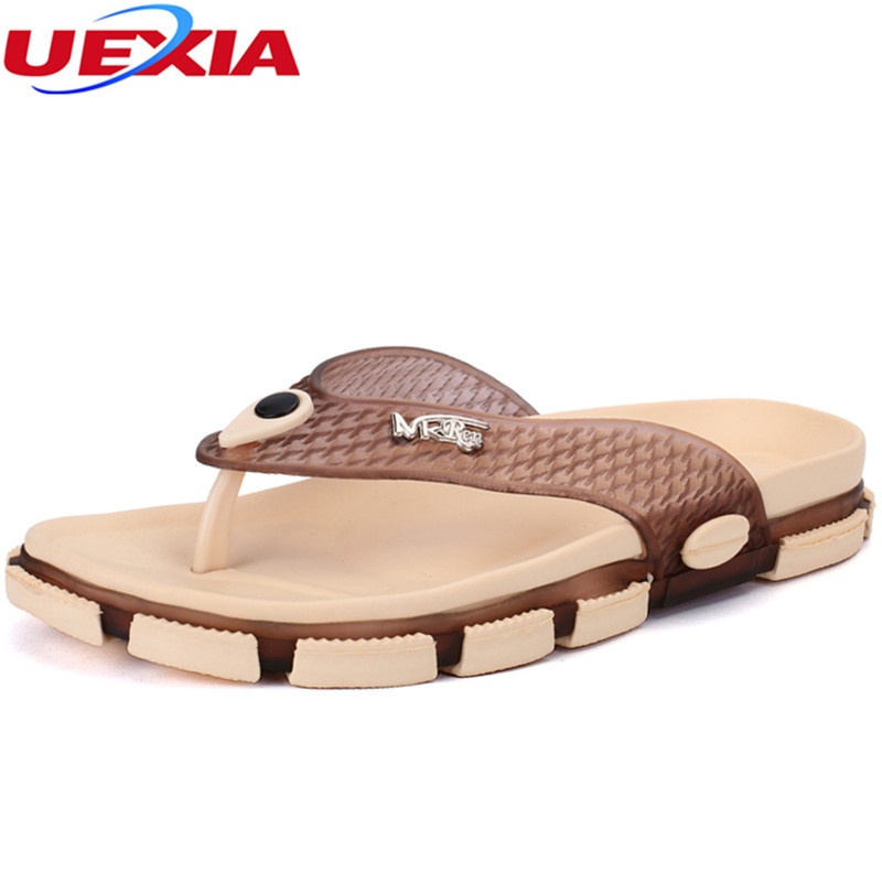 UEXIA Fashion Summer Men's Shoes Fashion Casual Flats Flip Flops Beach Slippers For Men New Arrival Personality Design Open Toe uexia 2018 new summer mens casual garden clogs shoes women beach slippers slides flip flops high quality beach sandals non slide