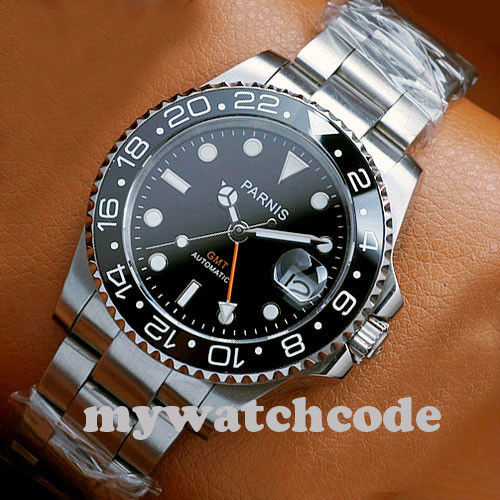 40mm PARNIS black dial luminous Sapphire glass Ceramic bezel GMT automatic mens watch Luxury Brand Top Mechanical Watches 1