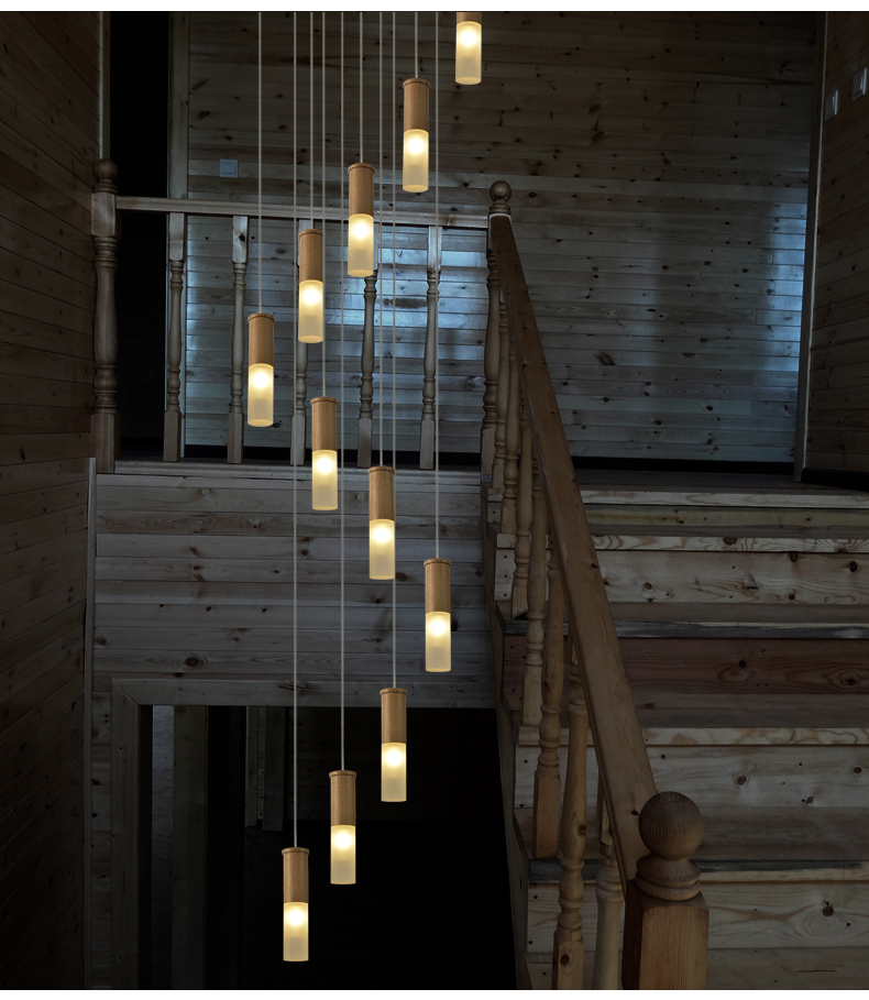 2 5 5m Long Wood Stair Lamps Spiral Led