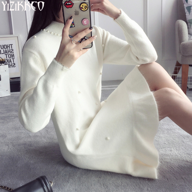 Women Sweater 2016 Winter New Fashion Knitted Pullovers High Quality Solid Sweaters Long Pull Femme Sweter Mujer SZQ088