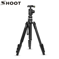 SHOOT Flexible 4 sections Aluminum Alloy Camera Travel Tripod for Canon Nikon DSLR Camcorder With Monopod Ball Head Accessories