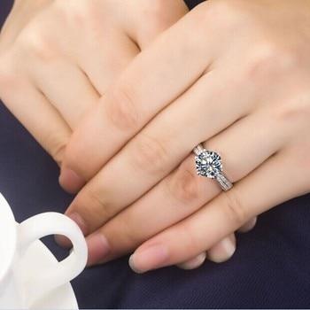 Solid Platinum Side gem studded 2CT Moissanite Diamond Engagement Ring 6