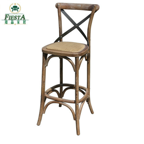 French Oak Wood Cross Back Bar Chair Rattan Chairs Face The American Continental Tall Stool