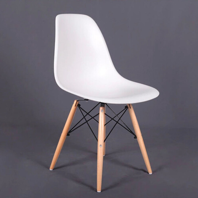 Set of 6 PP Plastic Dining Chairs Beech Wood Legs