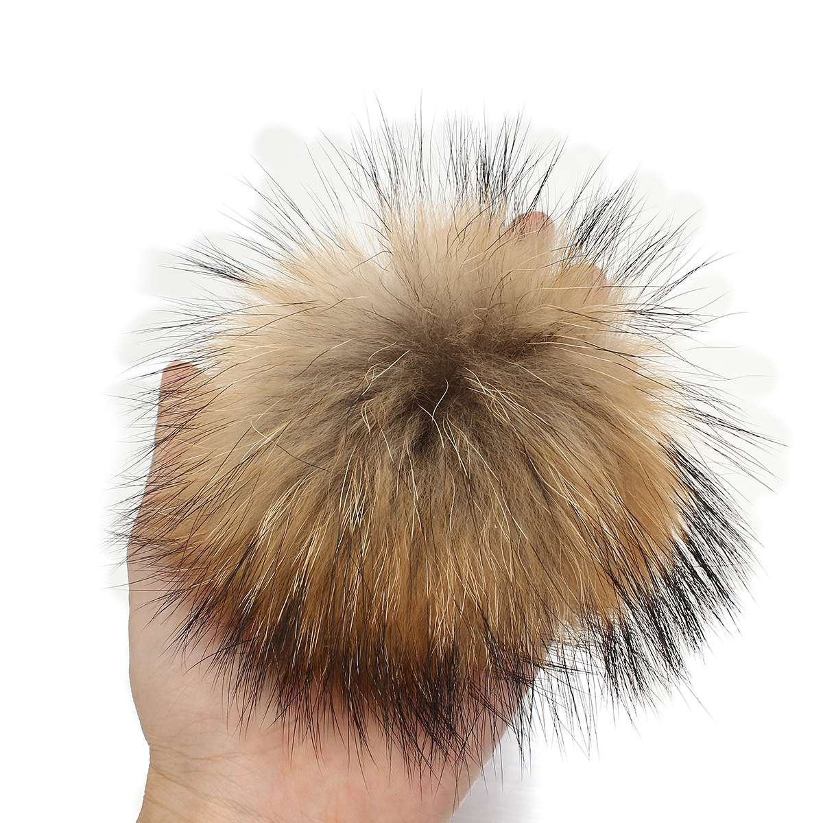 cc7bb59d2 New 10/12cm Faux Fur Raccoon Pompoms Bobble With Press Stud Handmade Pom  For Beanies Knitted Hat, Furry Ball For Men Women Cap