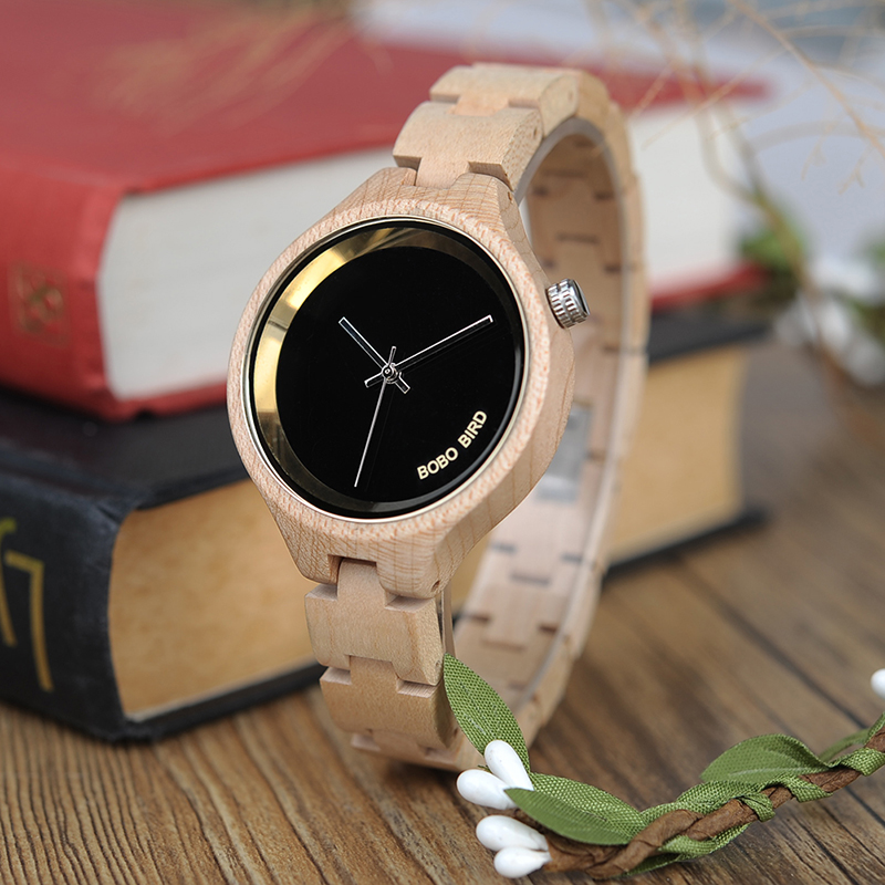 Women Watches Wooden Bobo Bird Elegant Simple Quartz Reloj with Gift-Box Mujer Accept