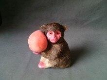 simulation monkey toy polyethylene & furs 16x17cm monkey model ,taking one peach, prop, home decoration gift t301